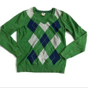 Izod Women's Cotton Vneck Argyle Long Sleeve Sz M